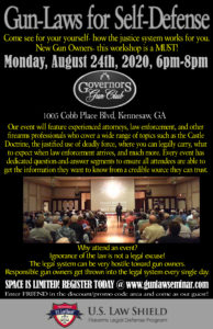 Know the Laws for Self-Defense @ Governors Gun Club Kennesaw