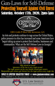 U.S. Lawshield - Protecting Yourself Against Civil Unrest @ Governors Gun Club Kennesaw